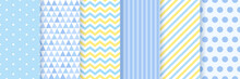 Baby Pattern Seamless. Baby Boy Shower Backgrounds. Vector. Set Blue Pastel Patterns For Invitation, Invite Templates, Cards, Birth Party, Scrapbook. Illustration.