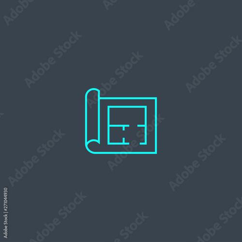 simple thin element on dark background  floor plan