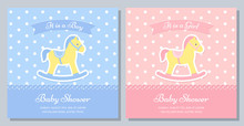 Baby Shower Card. Vector. Baby Invitation Banner. Welcome Boy, Girl Template Invite. Birth Party Background With Rocking Horse. Happy Greeting Holiday Poster. Blue Pink Design. Flat Illustration