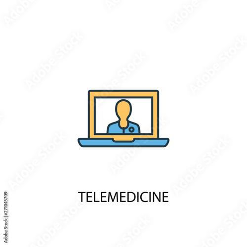Slika na platnu telemedicine concept 2 colored line icon