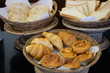 Close up bread and pastry in the bamboo basket