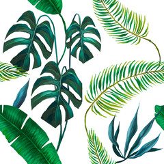 Fototapeta Orientalny seamless exotic leaves fashion pattern