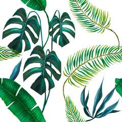 Fototapeta Natura seamless exotic leaves fashion pattern