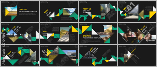 Valokuva  Minimal presentations design, portfolio vector templates with colorful triangle origami paper elements