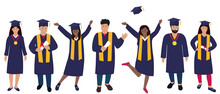 Young Girls Graduate In Graduation Gown And Hats With Tassels. Trendy Flat Women