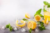 Ingredients for homemade refreshing summer lemonade.