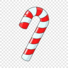 Candy Cane For Christmas Icon. Cartoon Illustration Of Candy Cane Vector Icon For Web Design
