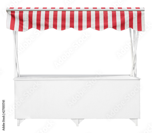 Fototapeta Wooden market stand stall with red white striped awning