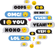 Set Of SMS Bubbles Messages With Dialog Words And Emoji-Vector
