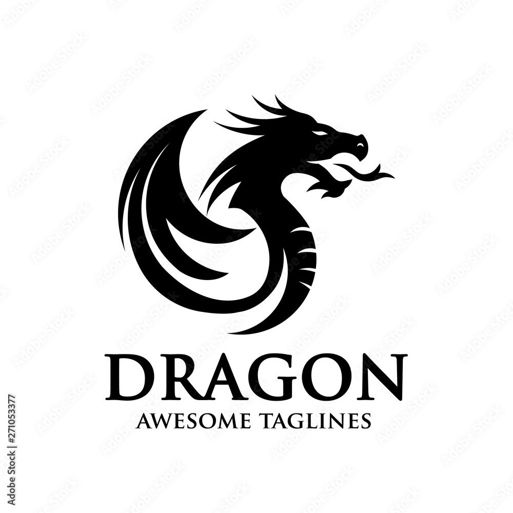 Fototapeta creative dragon silhouette circle logo design vector illustration