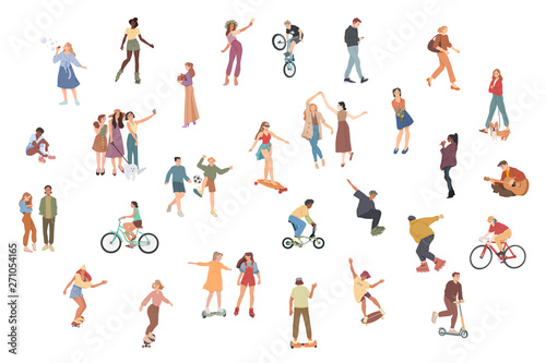 Fototapeta People. Summer outdoors activities. Walking, Riding bicycle, playing, skateboarding. Group of children, boys and girls, male and female cartoon characters obraz na płótnie