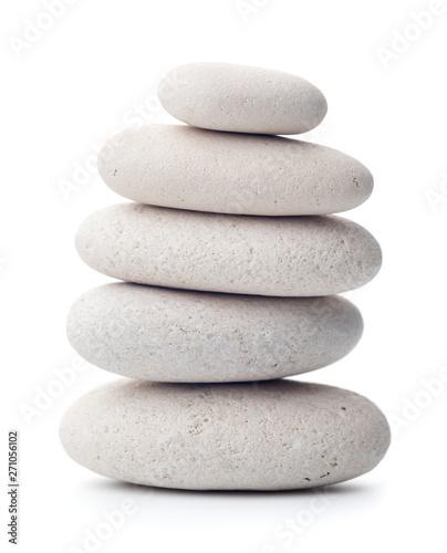 Fotografía  Balanced pebbles isolated on white background.