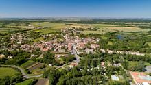 Aerial Photography Of Damvix In The Poitevin Marsh, Vendee, France