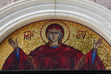 Virgin Mary - Mosaic Icon In Orthodox Christian Church In Budva, Montenegro