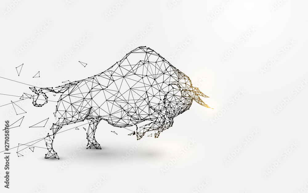 Fototapeta Angry Bull. lines, triangles and particle style design. Illustration vector