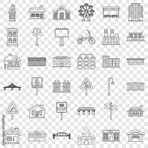 Fototapety, obrazy: Building icons set. Outline style of 36 building vector icons for web for any design