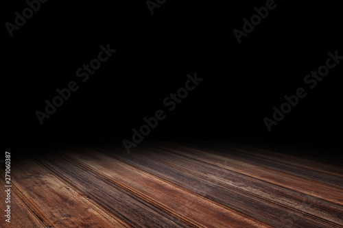 Photo Stands Wood Dark red brown Plank wood floor texture perspective background for display or montage of product,Mock up template for your design