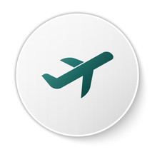 Green Plane Icon Isolated On W...