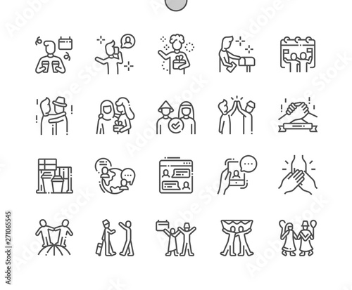 Fotografie, Obraz  International Friends Day Well-crafted Pixel Perfect Vector Thin Line Icons 30 2x Grid for Web Graphics and Apps