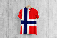Bouvet Islands Flag T-shirt On Hanger, Team Uniform Design Idea For Garment Production. National Wear.