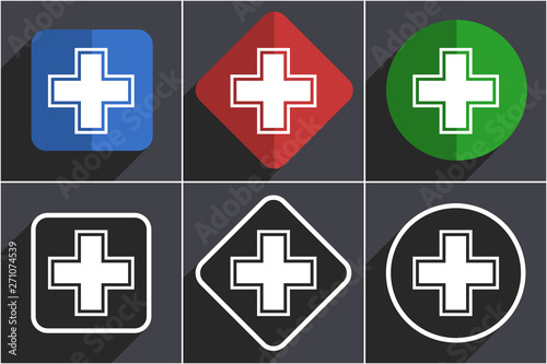 Fotografia  Pharmacy set of flat design web icons in 6 options