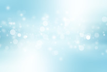 White Bokeh Blur Background / Circle Light On Blue Background / Abstract Light Background
