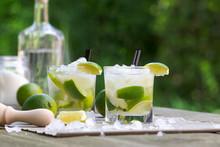 Fresh Caipirinha, Brazilian Cocktail With Cane Sugar And Lime