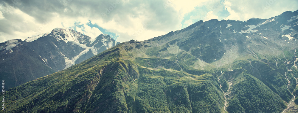 Fototapety, obrazy: alpine landscape with peaks covered by snow and clouds