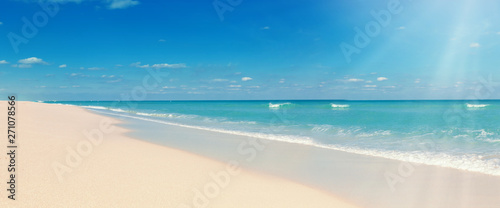 Tropical beach and sunshine. Travel summer holiday background Canvas Print