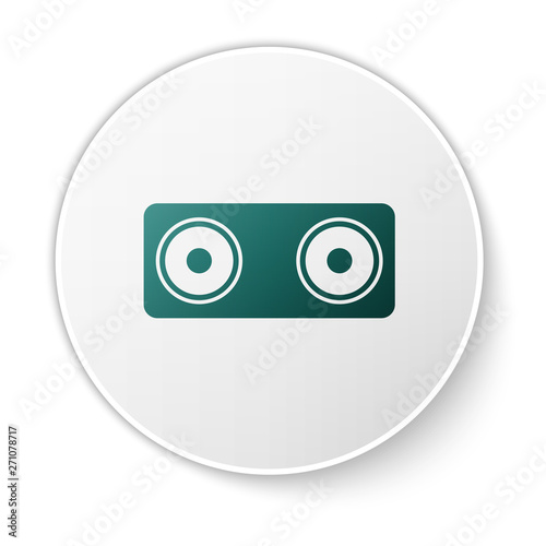 Poster Robots Green Stereo speaker icon isolated on white background. Sound system speakers. Music icon. Musical column speaker bass equipment. Green circle button. Vector Illustration
