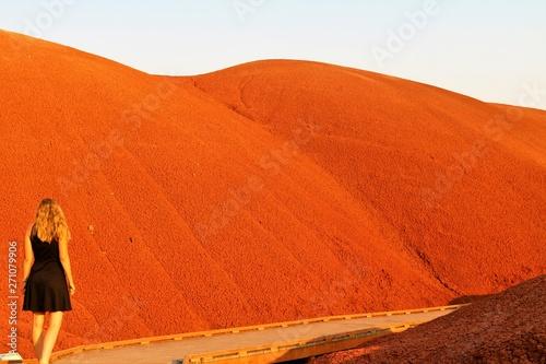 Cadres-photo bureau Brique Femme devant une dune rouge