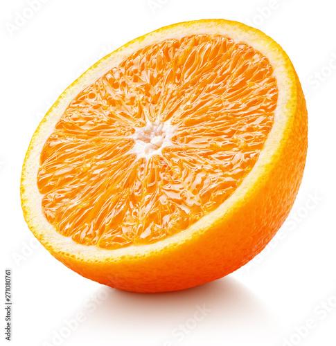 Fotografia Ripe orange half isolated on white background