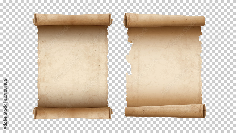 Fototapety, obrazy: Old paper aged blank scrolls, two old parchments isolated