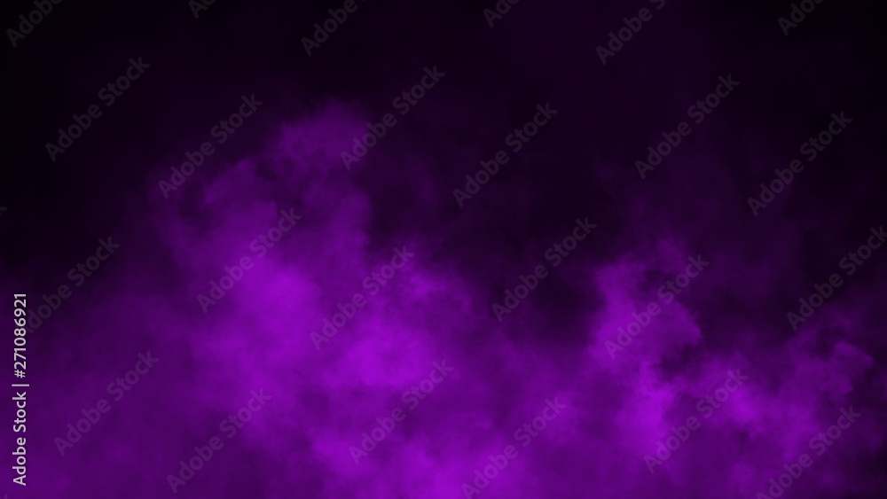 Fototapety, obrazy: Purple fog and mist effect on black background. Smoke texture . Design element