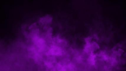 Purple fog and mist effect on black background. Smoke texture . Design element