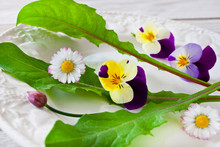 Fresh Salad With Various Eatable Flowers
