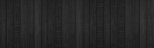 Panorama Of Black Natural Wood Wall Texture And Background Seamless