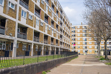 Council Houses Apartment Blocks Estate In Hackney East London, UK.