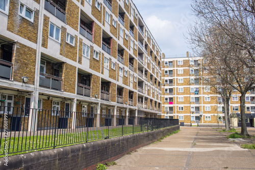 Valokuva  Council houses apartment blocks estate in Hackney East London, UK