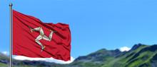 Isle Of Man Flag Waving In The...