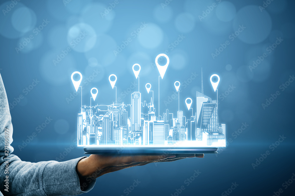 Fototapeta Map and innovation concept
