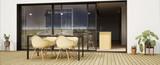 Fototapeta Na ścianę - vue 3d terrasse avec chaise et grande baie vitrée