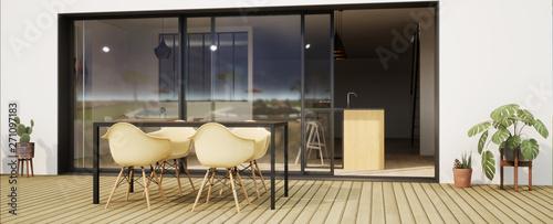 vue 3d terrasse avec chaise et grande baie vitrée Fototapete