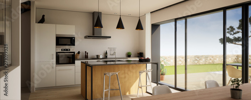 Fotografie, Obraz  vue 3d cuisine avec îlot central 01