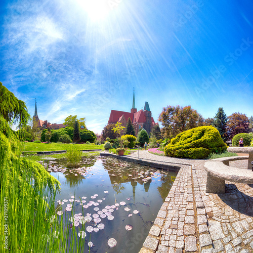 plakat WROCLAW, POLAND - MAY 30, 2019: Botanical Garden in Wroclaw, Poland. The garden was built from 1811 to 1816 on the Cathedral Island (Ostrow Tumski), the oldest part of the city.