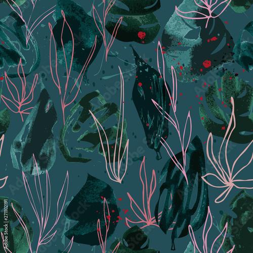 Fototapeten Künstlich Hand drawn seamless pattern with dark green leaves