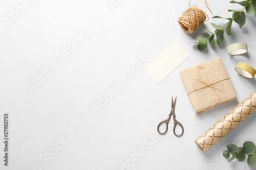 Flat lay composition with scissors on grey background Canvas