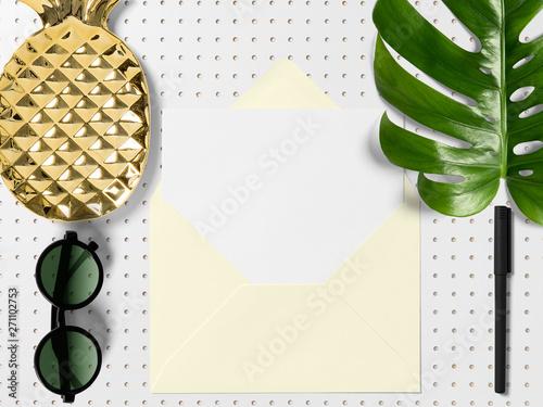 Fotografie, Obraz  modern minimalistic business desk with monstera leaf