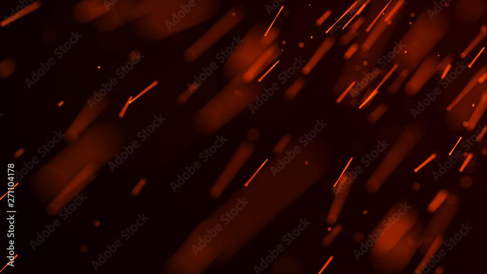 Fototapety, obrazy: Fire sparks background. Burning red sparks. Fire flying sparks. Blurred bright light. 3D rendering