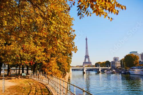 Photo sur Aluminium Tour Eiffel Scenic view to the Eiffel tower over the river Seine